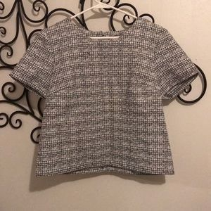 Express black and white business blouse
